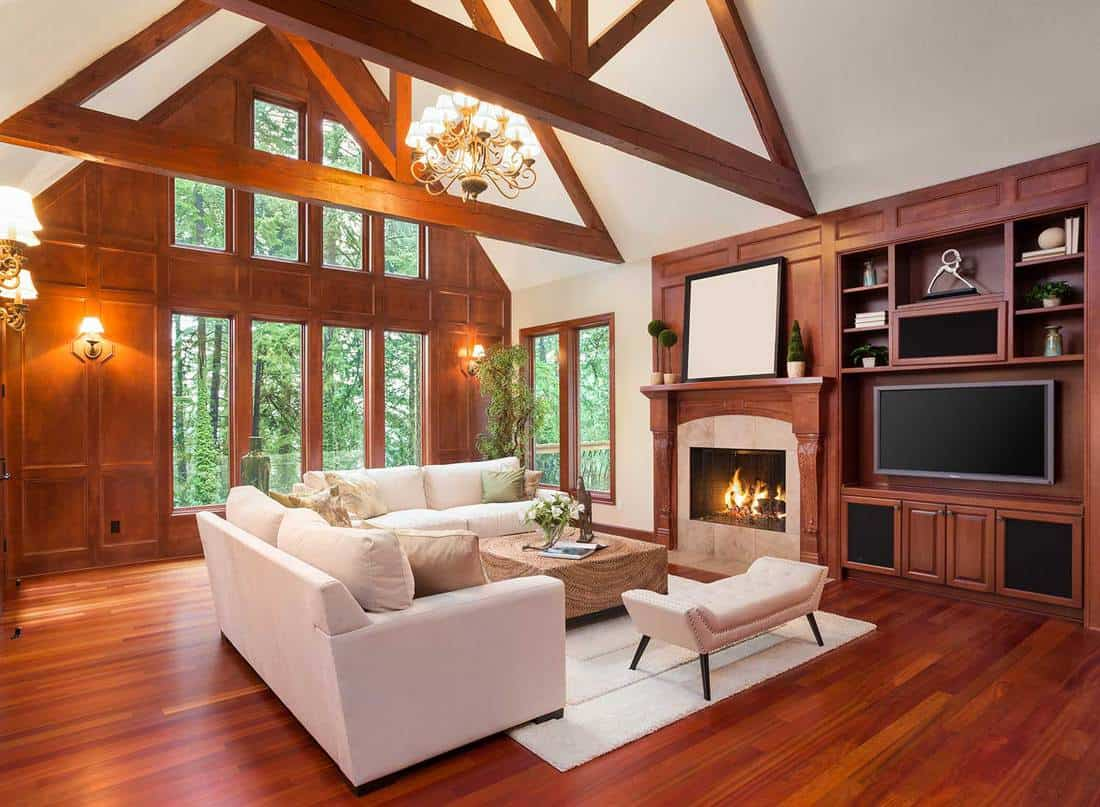 Living room interior with hardwood floors, cozy sofa set, widescreen tv, vaulted ceilings and fireplace