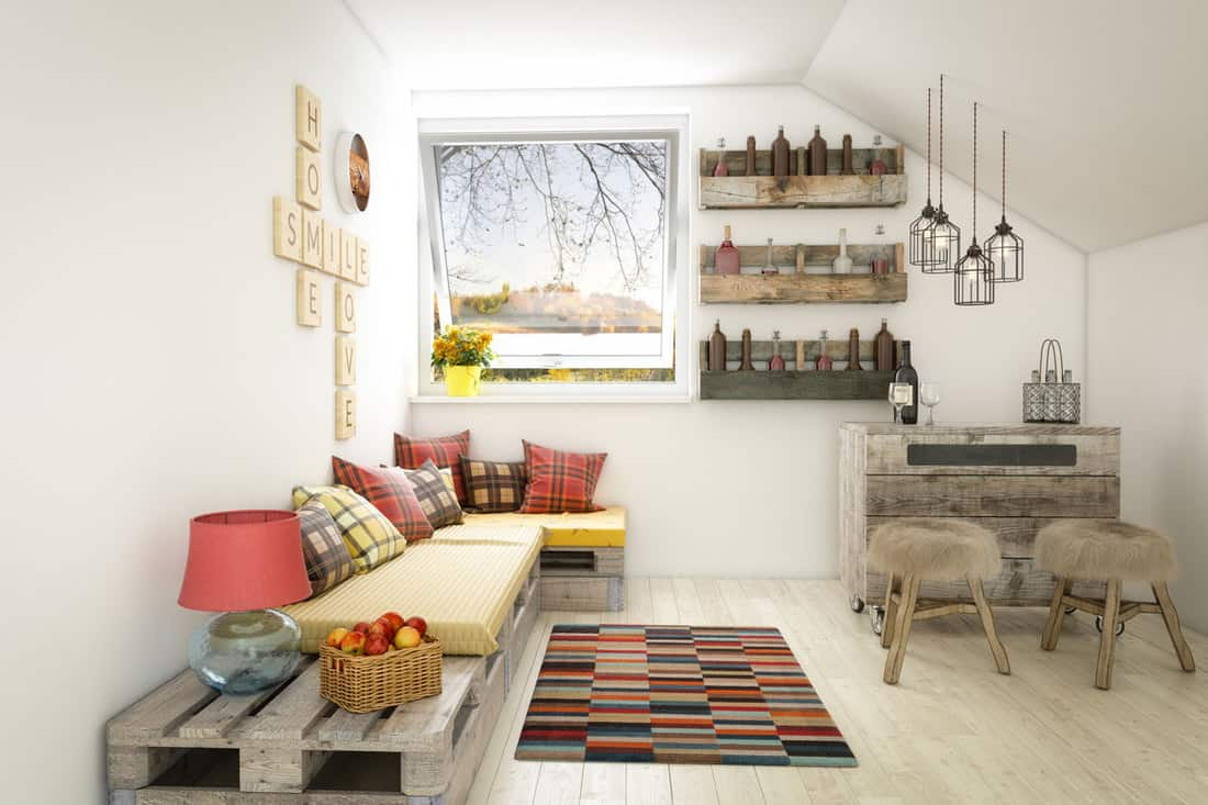 Small living room with white colored walls and decorative empty bottles for decorations