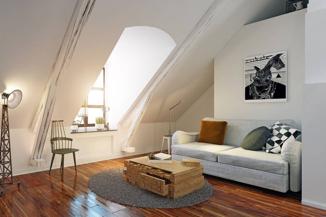 Living room with wooden flooring and white colored ceiling