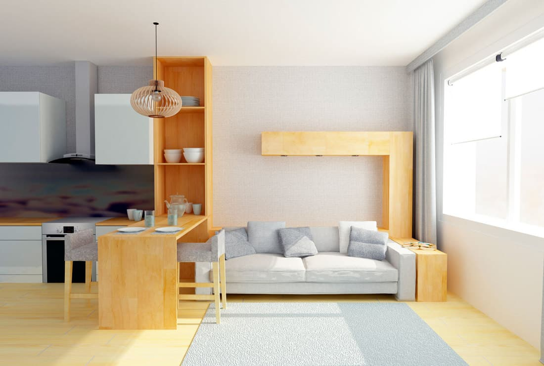 Living room with customized wooden cabinets and wooden flooring