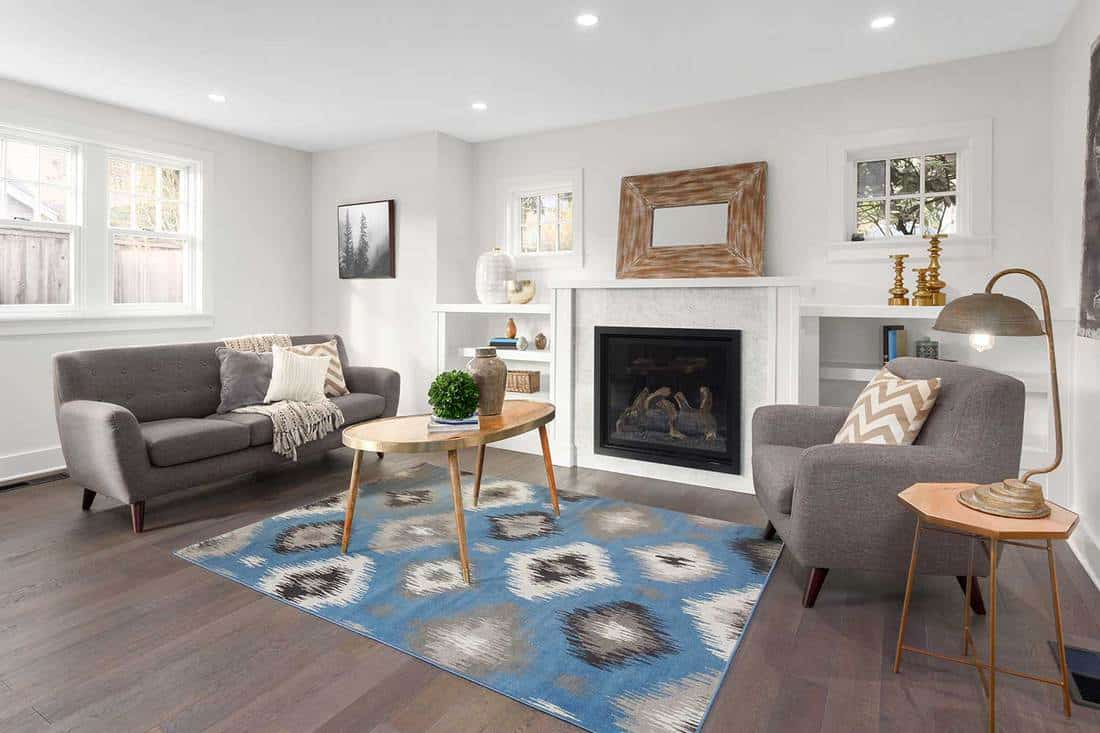 Luxury living room interior with hardwood floors, cozy gray sofa, fireplace, coffee table and rustic lamp