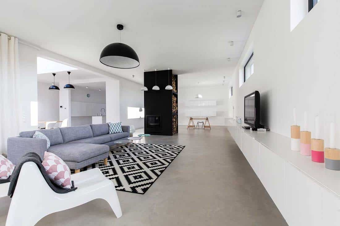 Luxury modern lounge with cozy gray sofa, plastic chairs, tv in big expensive house