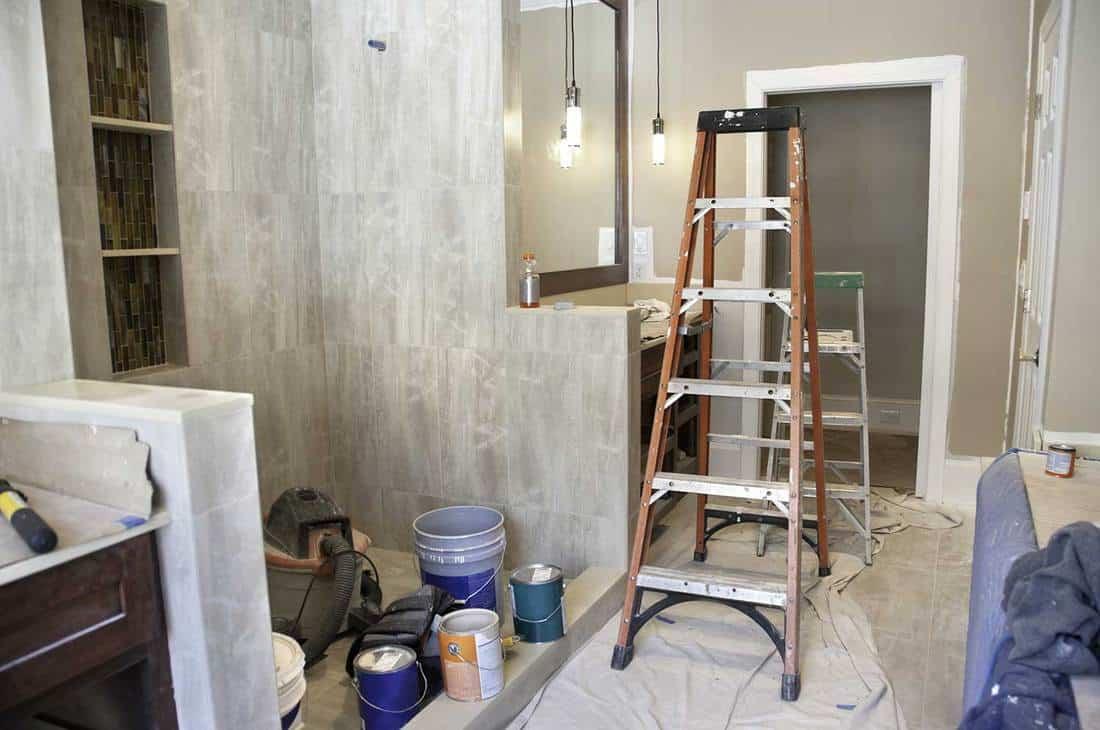 Master bathroom remodeling in progress