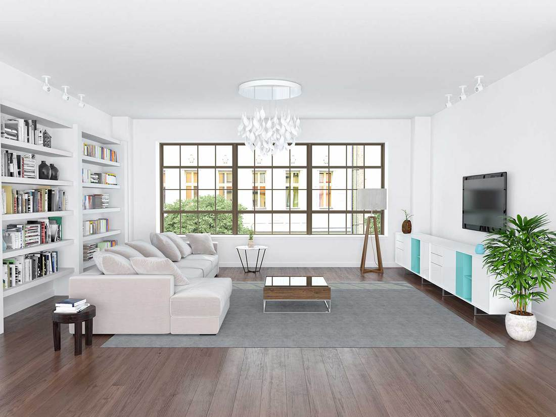 Modern living room with white walls, sofa, hardwood floor, bookshelf and flat screen tv on wall
