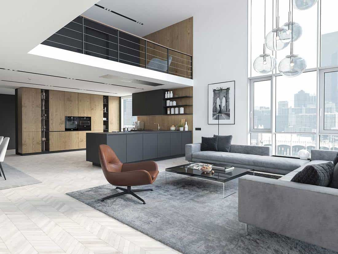 Modern loft apartment with gray living room interior and kitchen