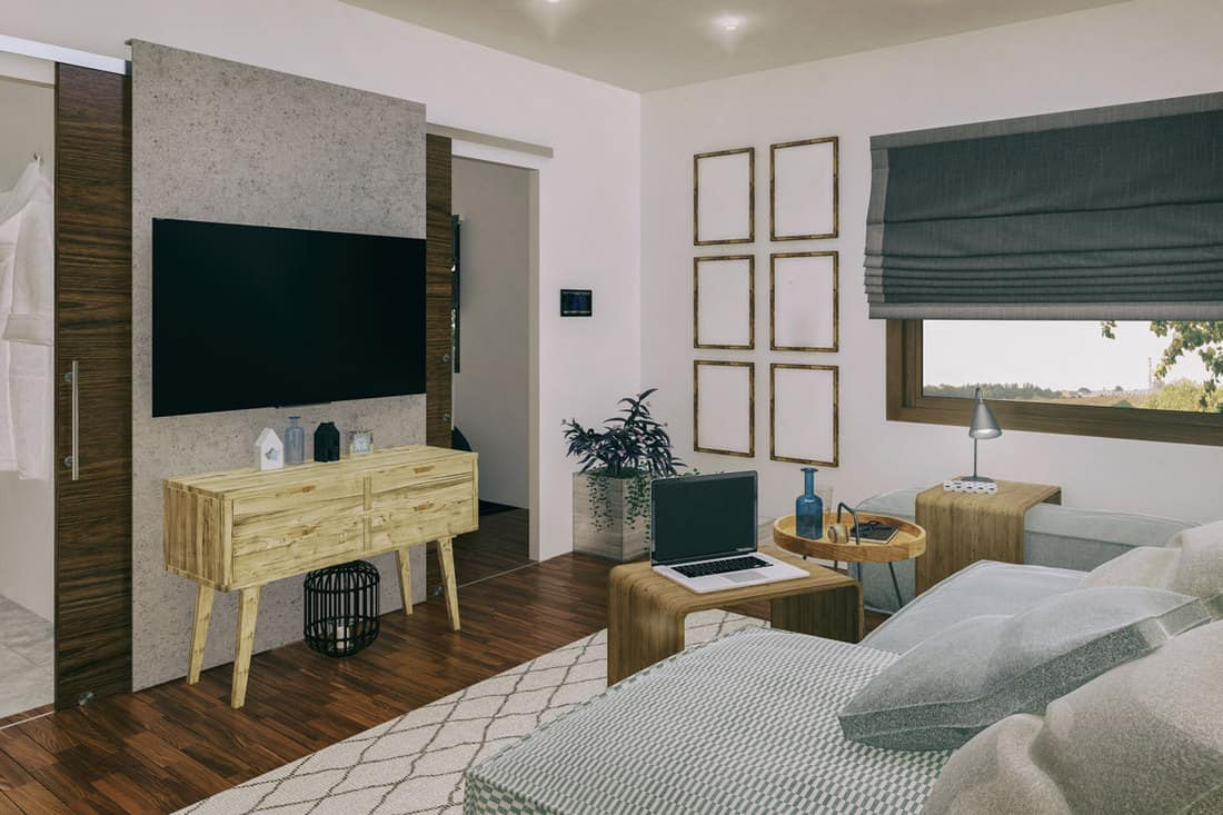 Modern living room with wooden furniture's and comfortable couch