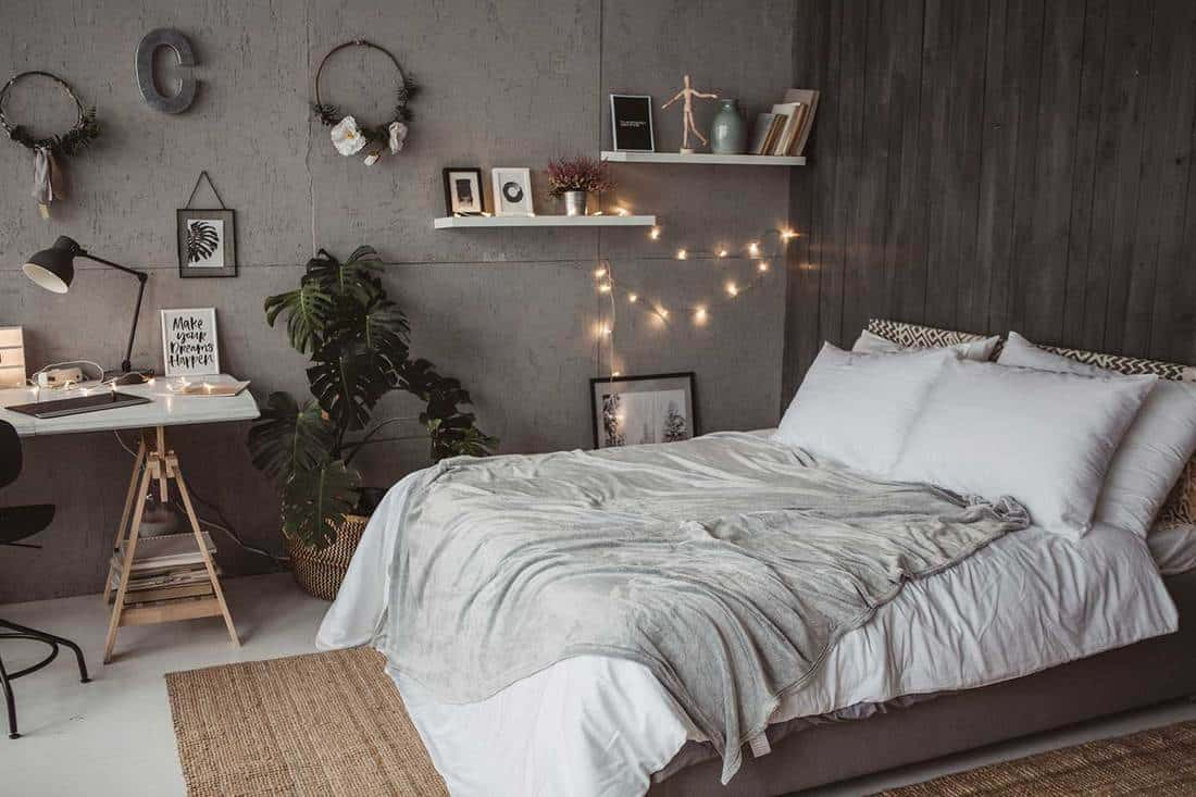 Modern white and gray interior designed bedroom with LED string lights and house plant