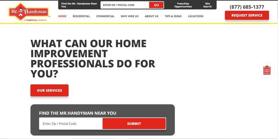 Mr. Handyman website homepage