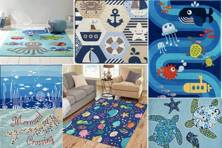 a collage of cute nautical themed rugs for the nursery, Nautical-Themed Rugs For The Nursery