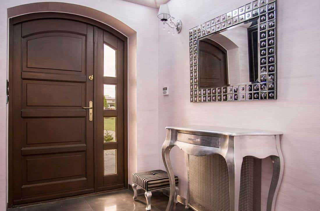 New design home hall with decorative mirror and brown front door