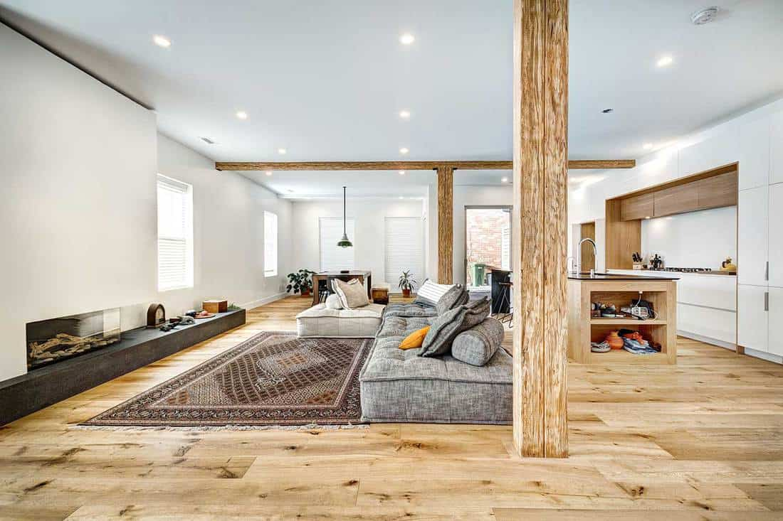 New modern house living room with hardwood floors, pillar, cozy gray sofa bed and carpet
