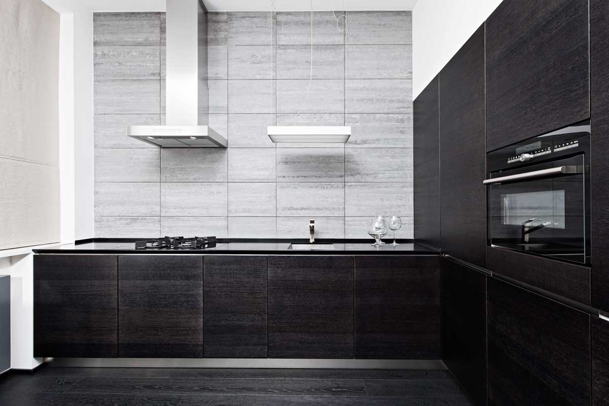 Part of modern minimalism style kitchen interior in monochrome tones