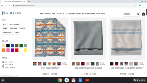 Pendleton Woolen Mills website product page