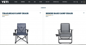Yeti website product page