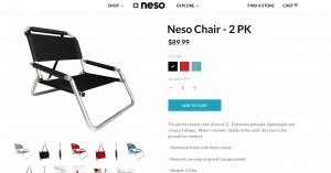 Neso website product page