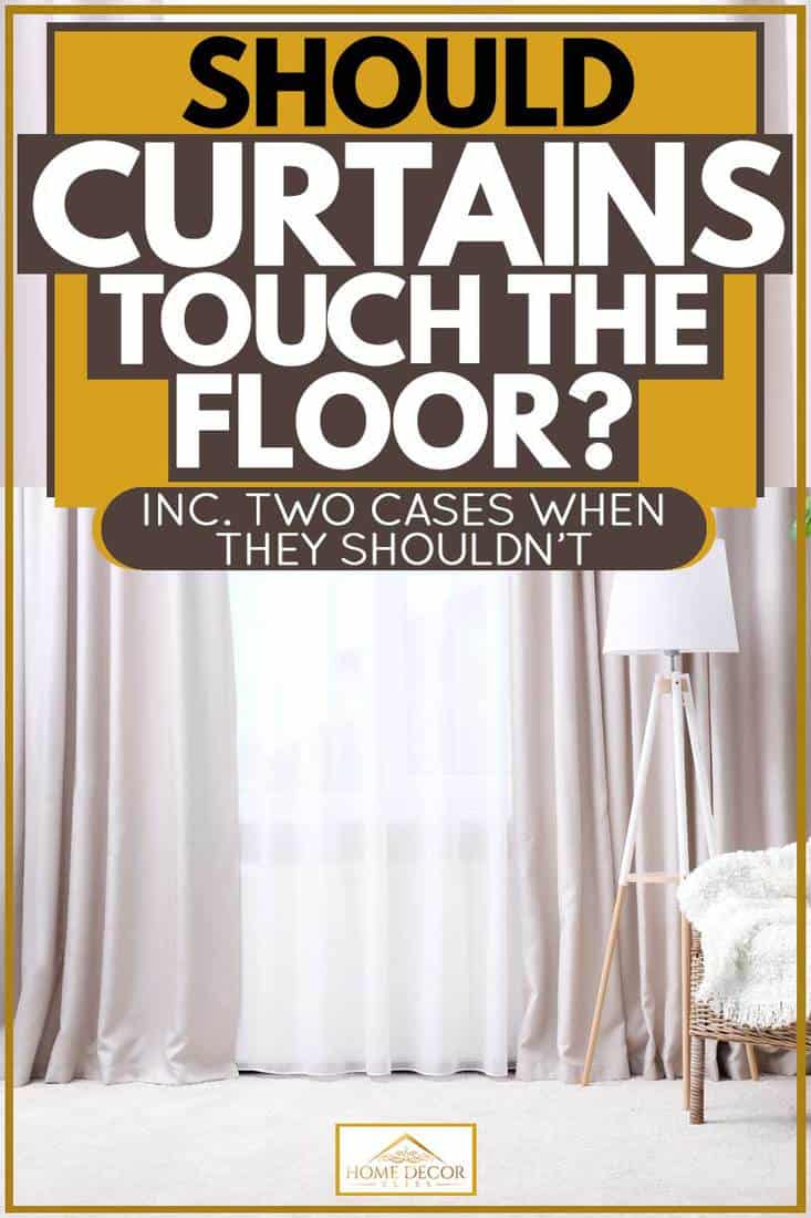 Dirty white colored curtain reaching the floor, Should Curtains Touch The Floor? [Inc. two cases when they shouldn't]