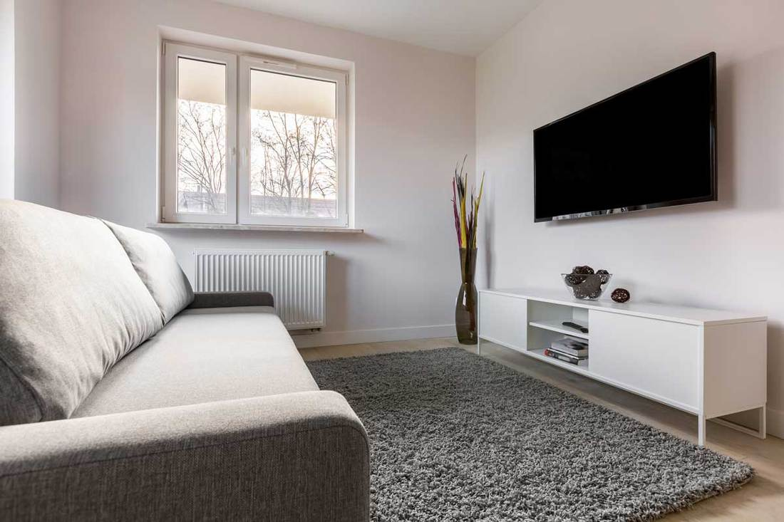 Small living room with gray rug and widescreen TV mounted on wall