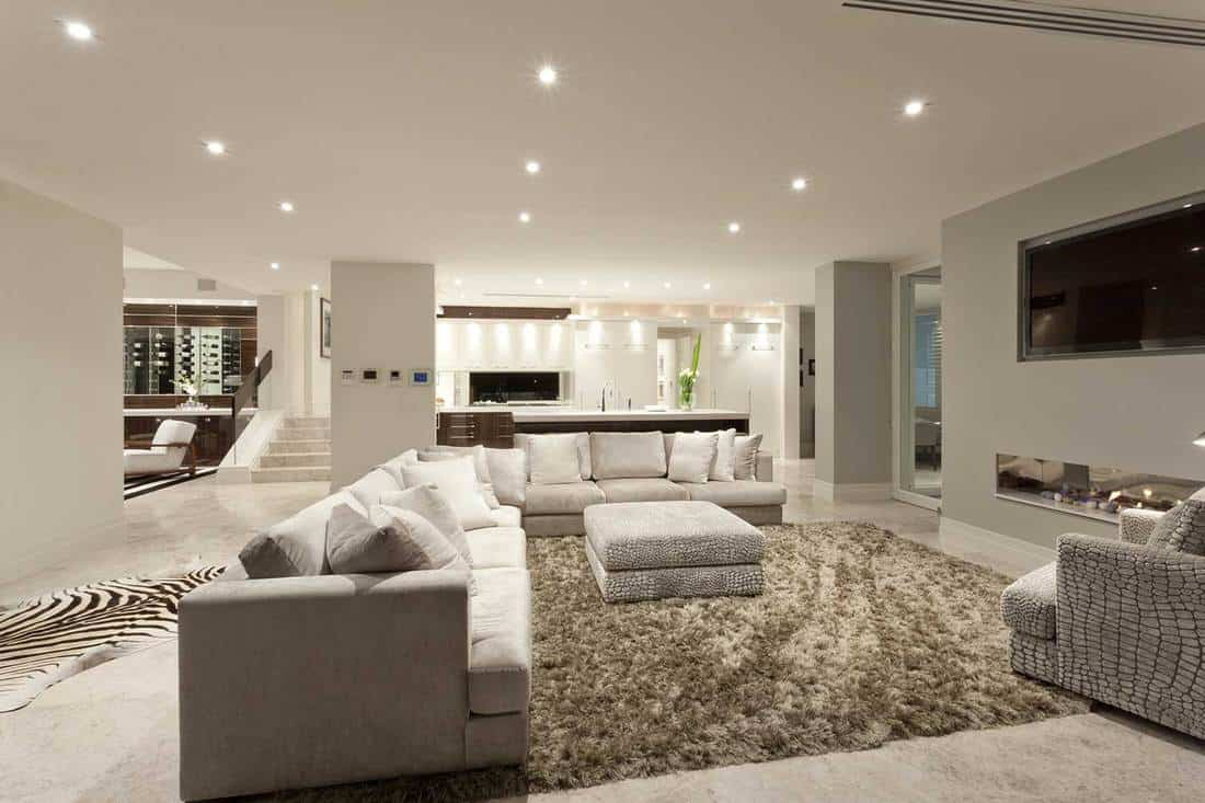 Spacious beautifully illuminated living room with tv, cozy sofa and big fluffy carpet