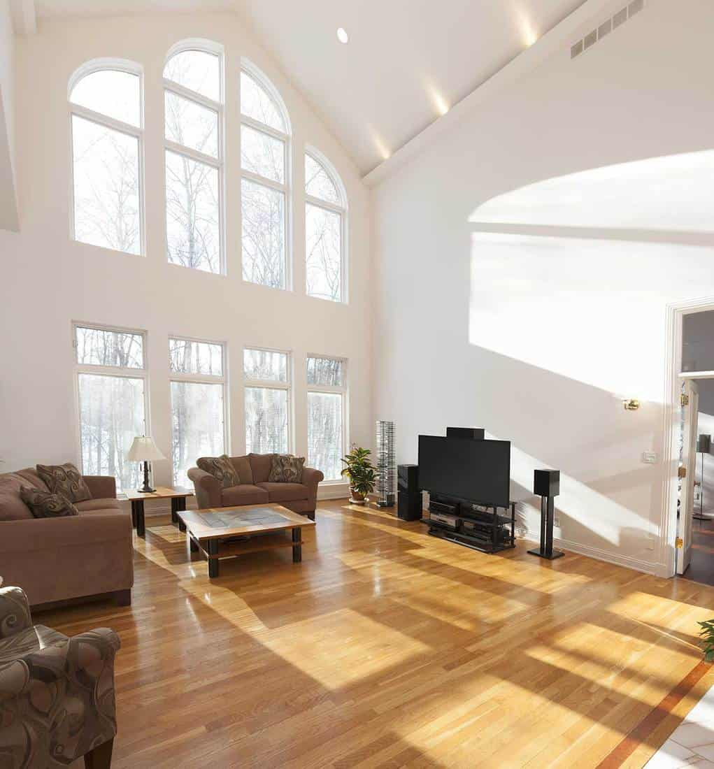 Spacious bright family room with cathedral ceiling and wall of windows