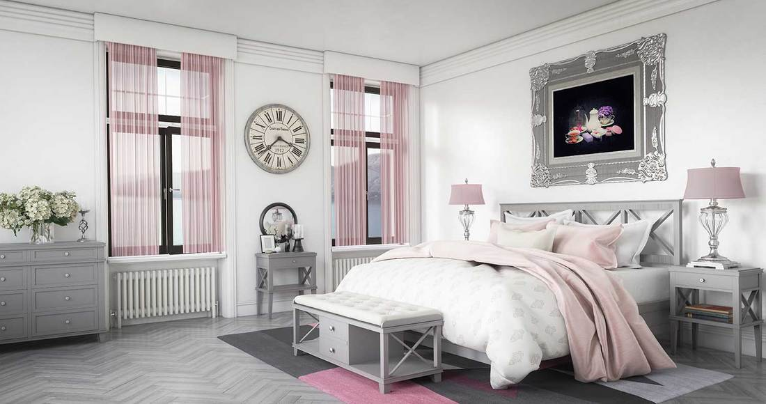 Stylish pink and gray luxury bedroom interior design with high quality furniture