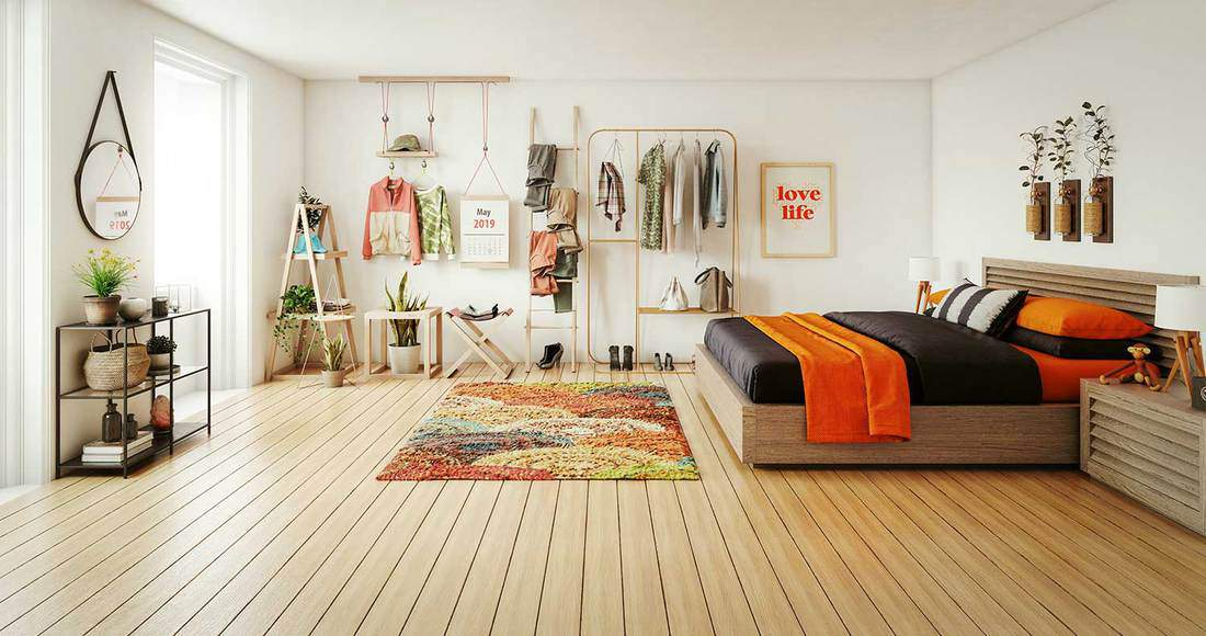 Warm and cozy themed girl's bedroom interior design with shutter style bed and hardwood floor