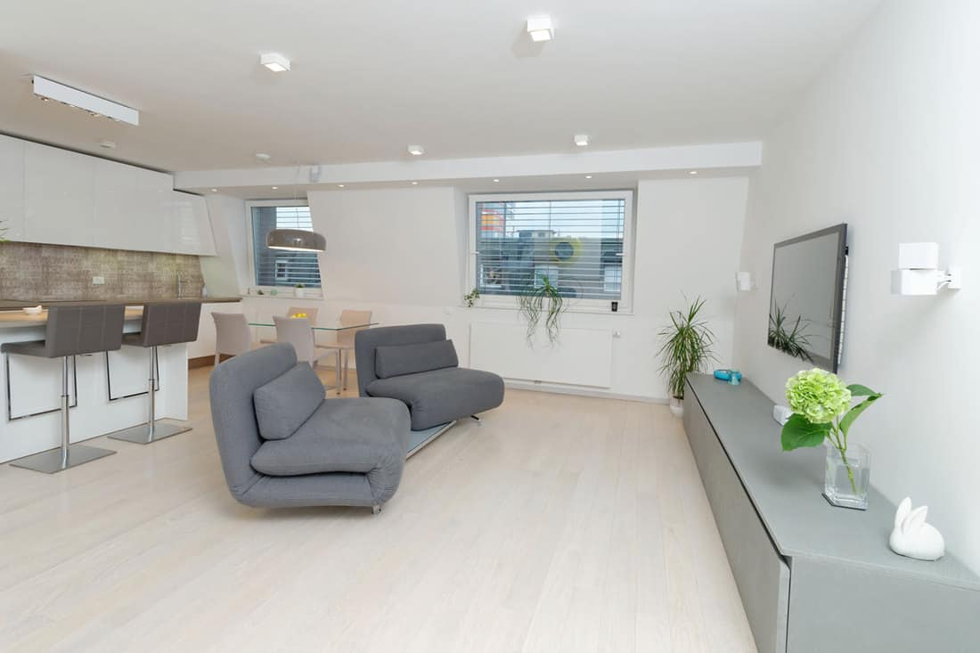 White colored walls with gray couches inside small living room