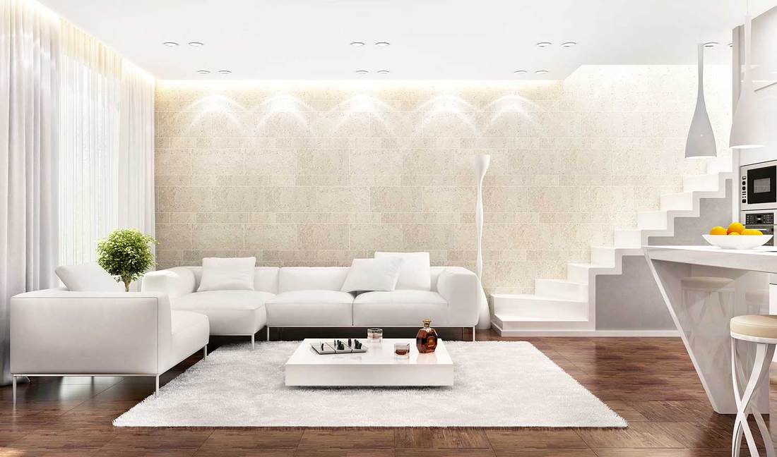 White interior design living room and kitchen with hardwood floors