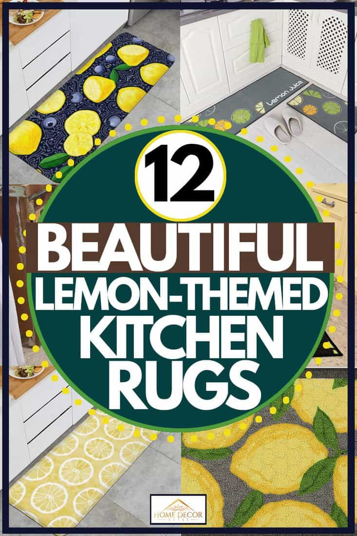 Collage of lemon rug products, 12 Beautiful Lemon-Themed Kitchen Rugs
