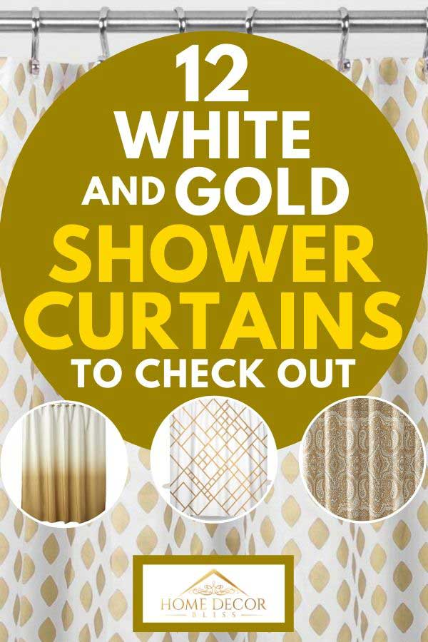 A collage of white and gold shower curtains, Collage of white and gold shower curtains, 12 White And Gold Shower Curtains To Check Out