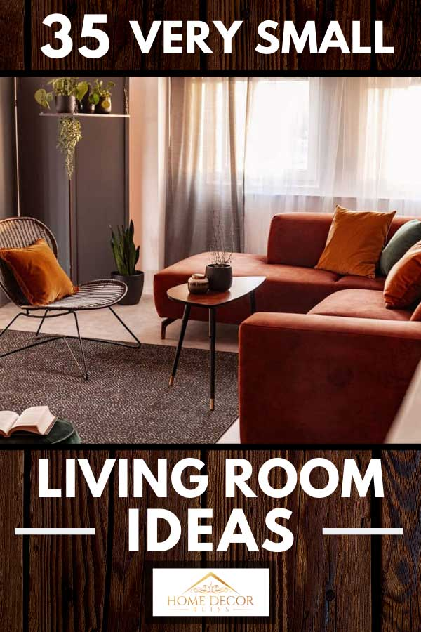Rustic small living room with brown corner sofa, rug and curtains, 35 Very Small Living Room Ideas