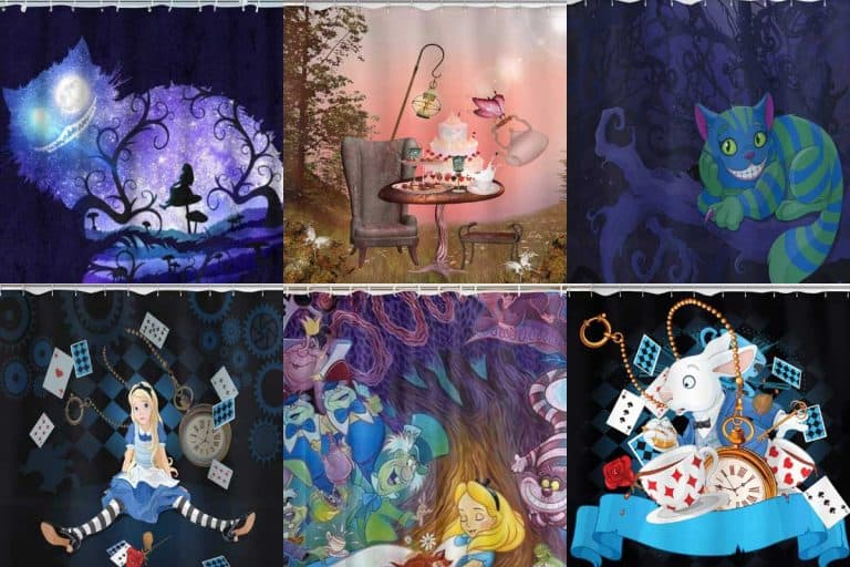 A collage of Alice in Wonderland shower curtains, 12 Alice In Wonderland Shower Curtains You Should See