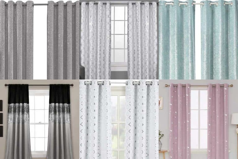 A collage of stunning metallic glitter and sequin curtains, 10 Stunning Metallic Glitter & Sequin Curtains