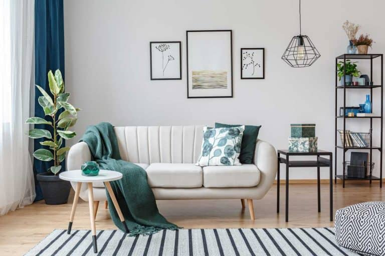 Black table next to sofa with green blanket in cozy apartment interior with gallery of posters, Should You Flip Couch Cushions? [Yes! and Here's How Often To]