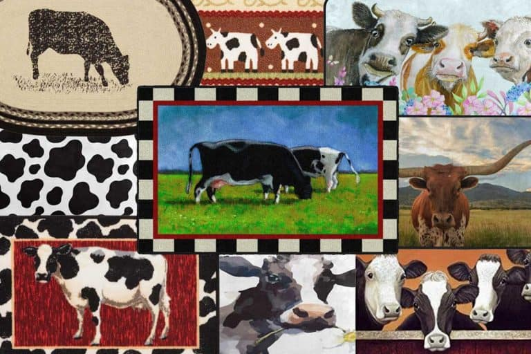 Collage of cow kitchen rugs for a bovine themed room, 12 Cow Kitchen Rugs For a Bovine Themed Room