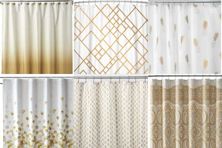 Collage of white and gold shower curtains, 12 White And Gold Shower Curtains To Check Out