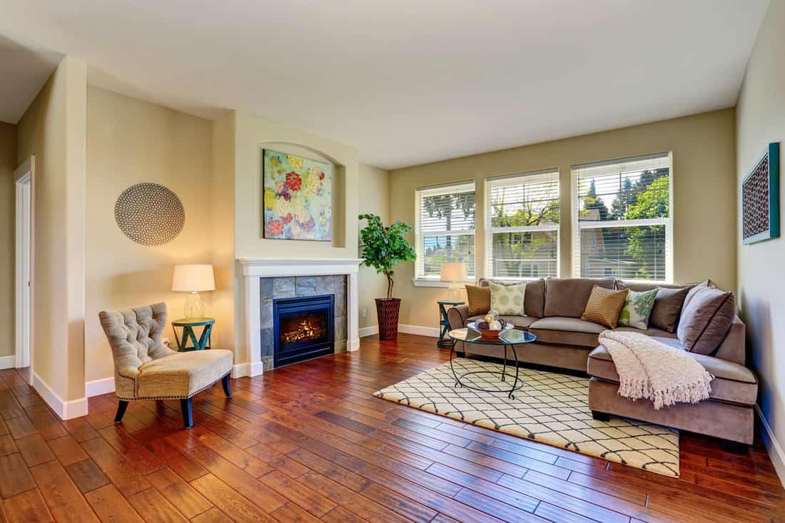 Cozy living room interior with fireplace, beige walls and hardwood floor.