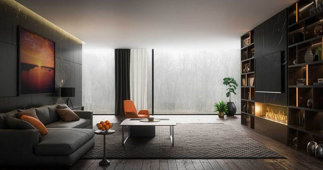 Dark spacious modern living room with large glass windows, cozy sofa, parquet floors, TV and fireplace