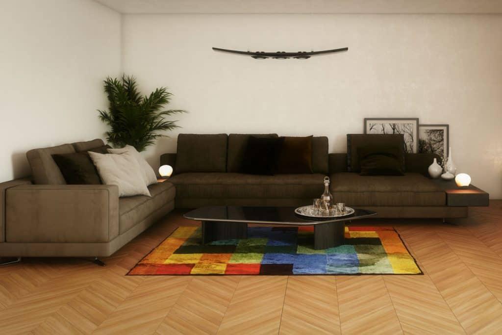 Digitally generated elegant and modern living room interior design