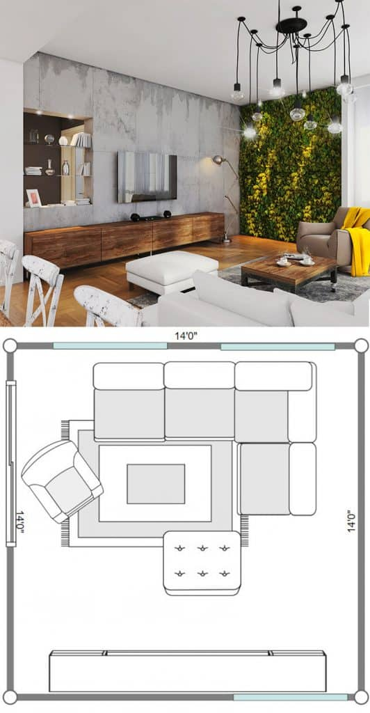 Industrial-inspired-square-living-room-with-a-green-wall-pin