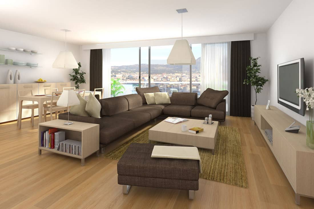 Interior design scene of modern apartment with living room and dinner room in wood and brown colors