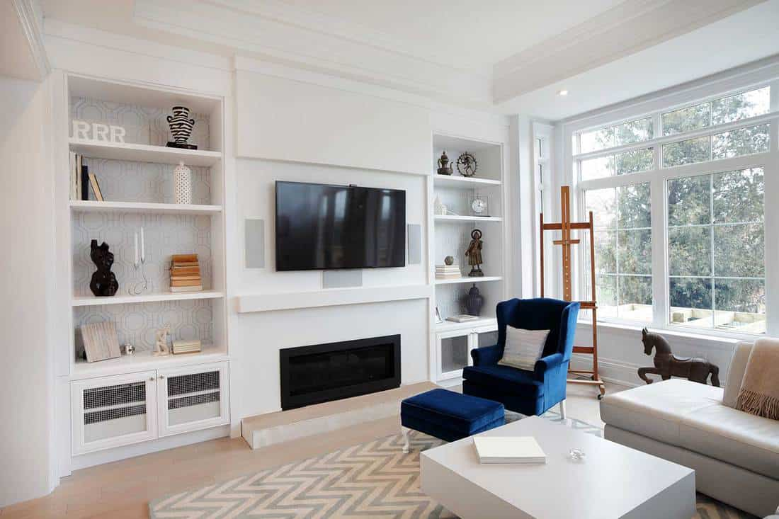 Interior of modern luxury living room in North American private residence