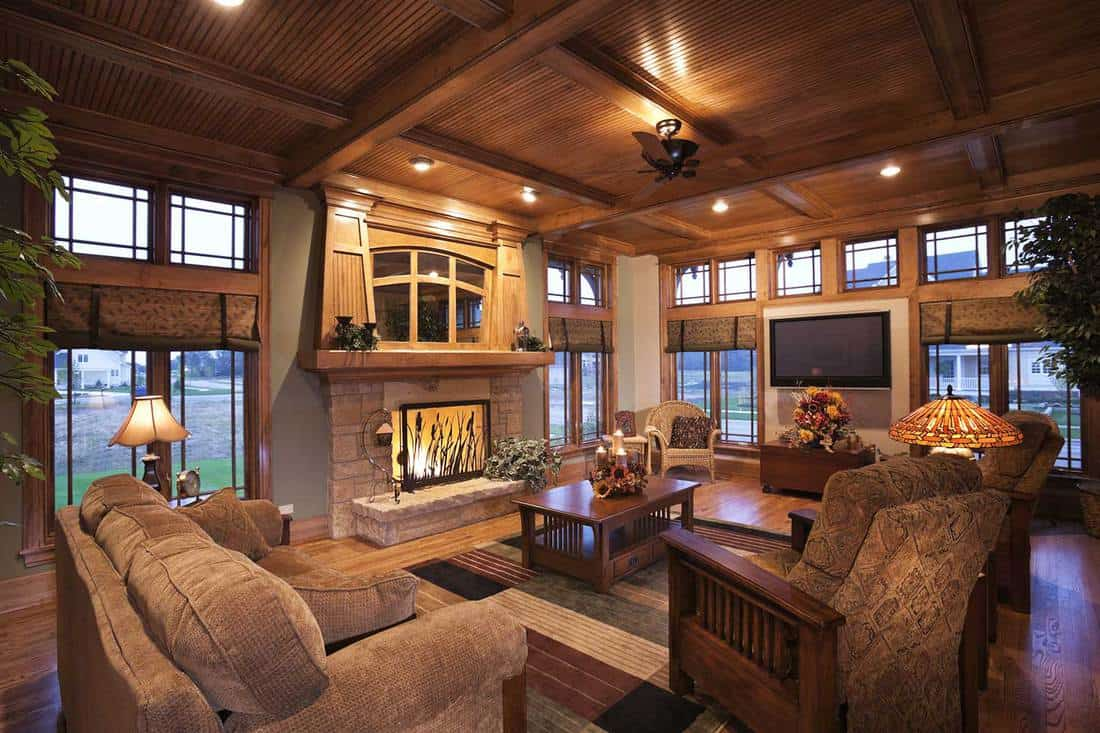 Living room elegantly appointed with mission style furnishing and interior design elements