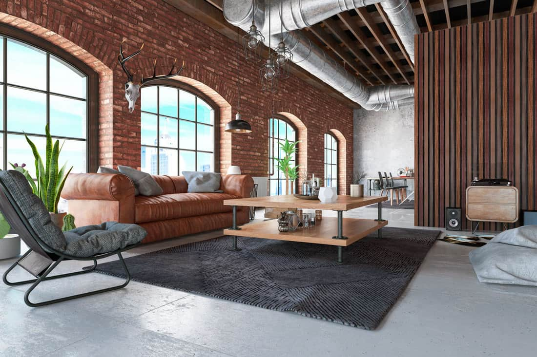 Loft Interior with Leather Sofa and Furnitures