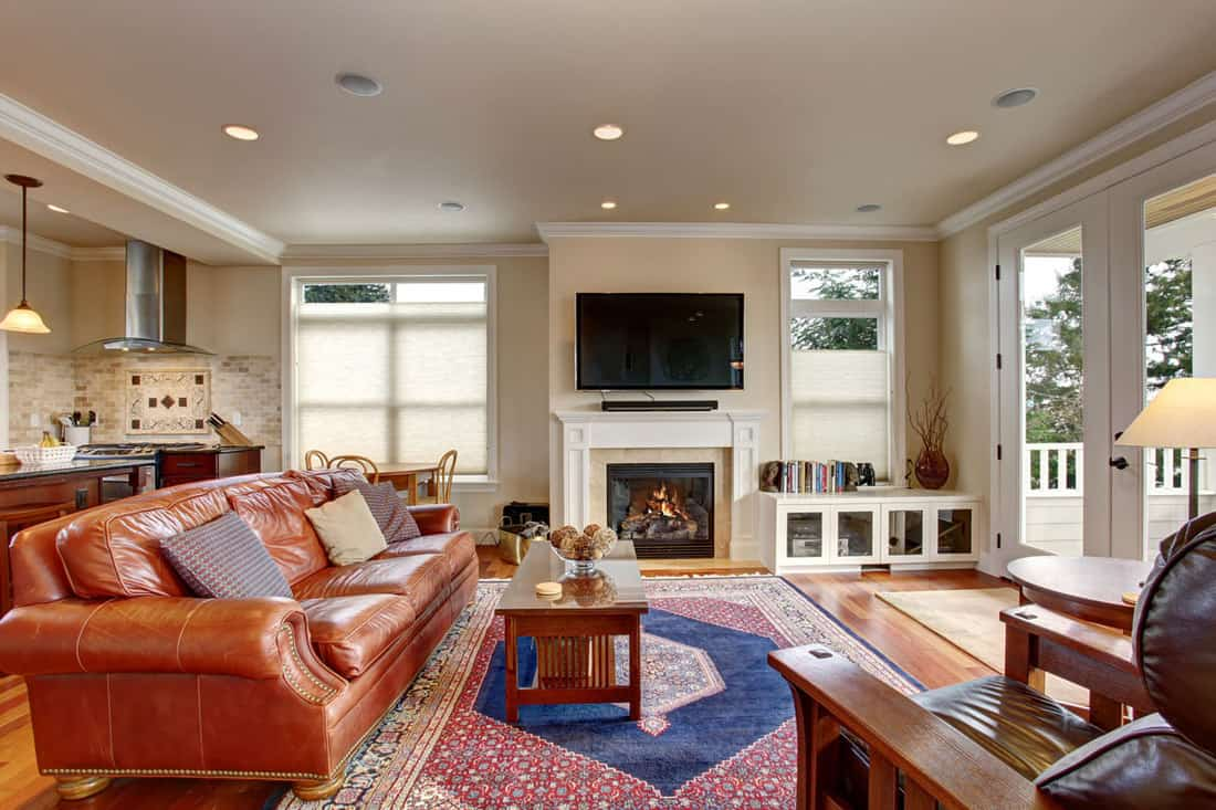 Luxury living room with leather couch, colorful rug, and a fireplace
