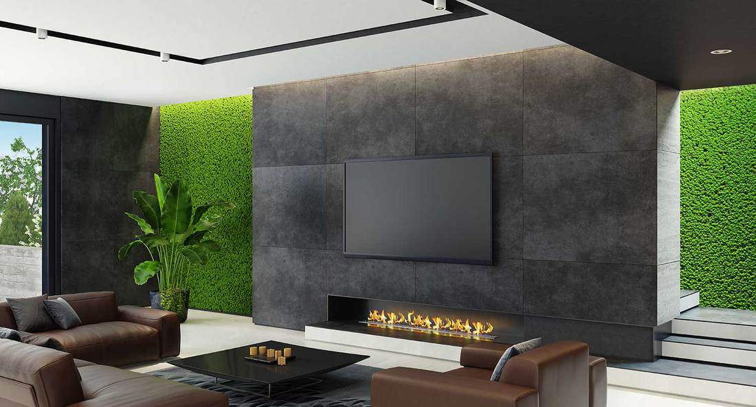 Luxury living room with natural stone and innovative green moss walls, eco fireplace, brown leather sofa and coffee table