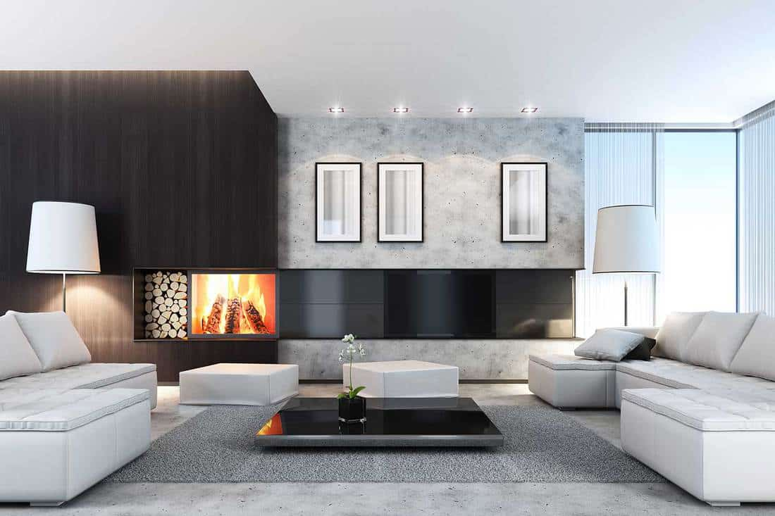 Luxury villa with TV, fireplace and cozy white sofa set