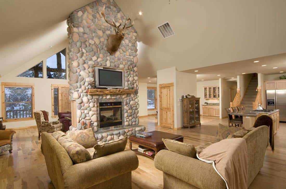 Modern living room interior with cozy sofa, wall with stones, deer head, TV, parquet floor and fireplace
