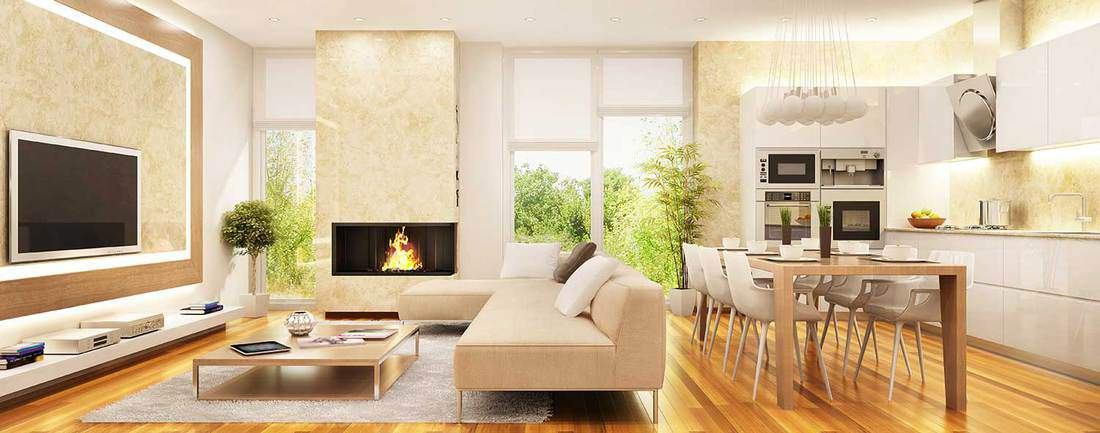 Modern living room with fireplace and kitchen in common space