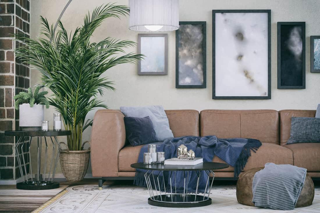 Cozy sofa in a domestic living room design