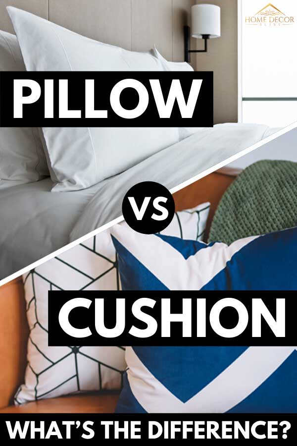 A collage of white pillow on bed and two sofa cushions, Pillow vs. Cushion: What's the difference?
